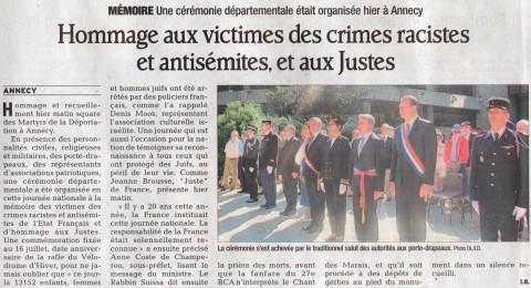annecy,ceremonie,hommages,justes,racisme,antisemitisme